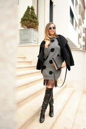 let's talk about fashion !,blogger,jacket,dress,shoes,sunglasses,bag,printed knit dress,polka dots,knitwear,knitted dress,boots,over the knee boots,thigh high boots