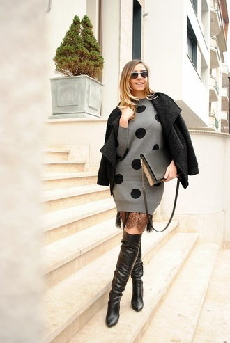 let's talk about fashion ! blogger jacket dress shoes sunglasses bag printed knit dress polka dots knitwear knitted dress boots over the knee boots thigh high boots