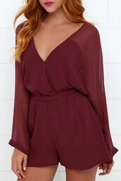 romper,trendy,fashion,burgundy,Casual Solid Color See-Through Long Sleeve Belted Romper For Women,long sleeves,summer,rosegal-dec