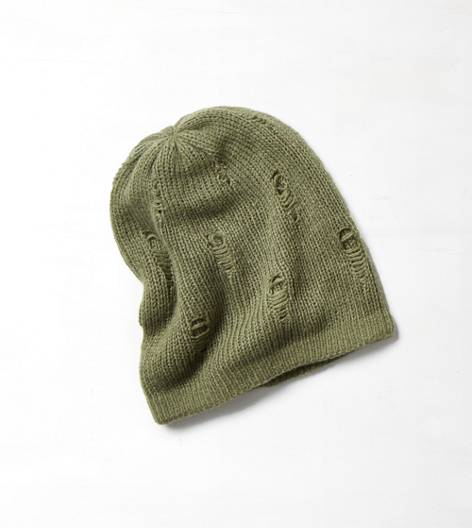 AEO Destroyed Knit Beanie, Olive | American Eagle Outfitters
