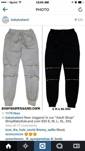 joggers jogging pants zip zipped pants