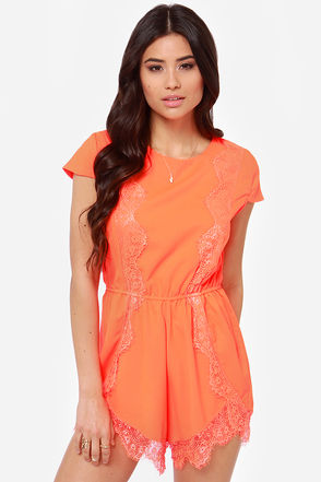 Cute Neon Orange Romper - Neon Romper - Lace Romper - $68.00