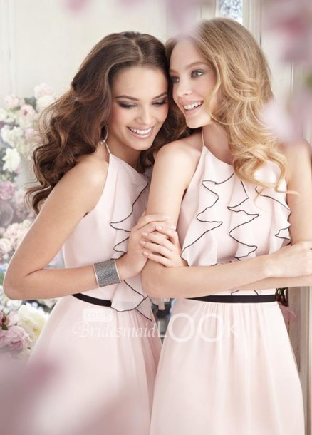 dress blush pink halter neck new bridesmaid dresses