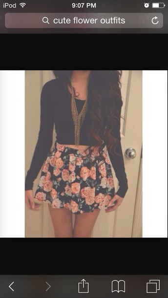 skirt flower shirt and crop top