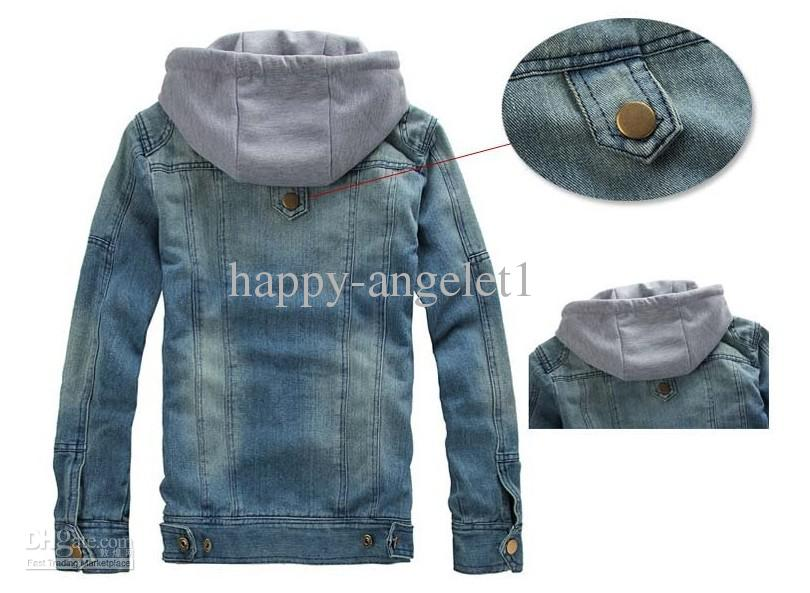 Wholesale men's hoodie jeans jacket coat outerwear hooded winter coat hoodie denim jacket coat c, free shipping, $39.24