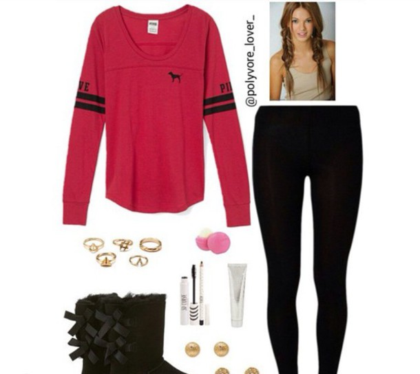 Shirt: red shirt, red, victoria's secret, pink by victorias secret ...