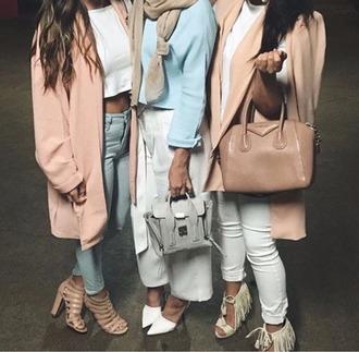 coat shoes winter coat pink blue squad denim high waisted jeans long coat