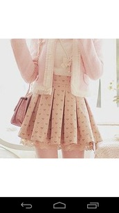 skirt,cardigan,pastel,pastel pink,plaid skirt,nude,jacket,blouse,rose,beige,cute,sweet,girly,chain,key,ribbon,korean fashion,kstyle,japanese,playful,accessories,korean style