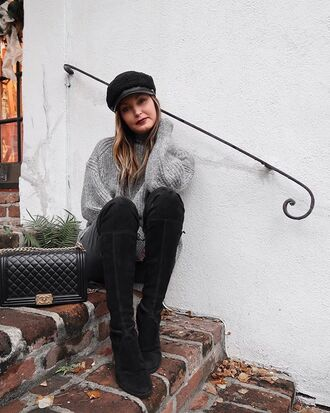 for all things lovely blogger sweater leggings shoes bag hat fisherman cap boots oversized sweater grey sweater chanel bag winter outfits