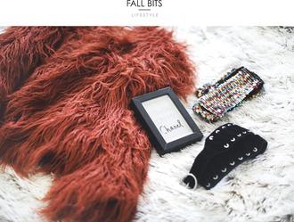 room91 blogger jacket belt scarf fluffy fall colors