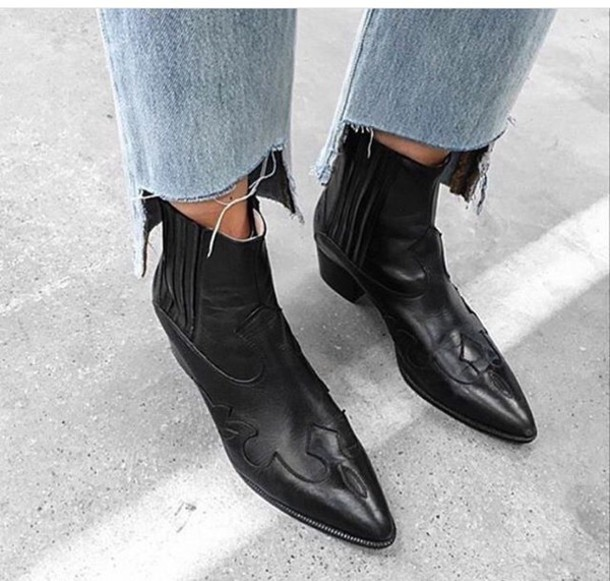 ee3750a2037c shoes black leather boots short heel boots boots ankle boots cowboy boots  western western wild leather
