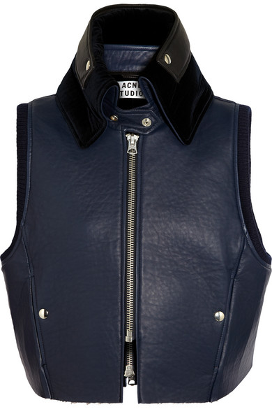 Acne | Mix padded leather gilet | NET-A-PORTER.COM