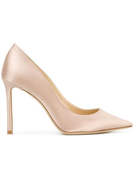 Jimmy Choo women 100 pumps leather nude silk shoes