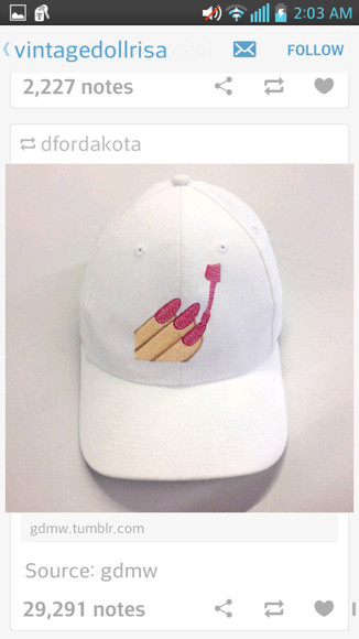 white hat baseball cap nail polish