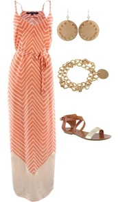 dress,clothes,maxi dress,chevron,peach,jewels