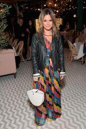 dress,rachel bilson,jacket,celebrity,maxi dress