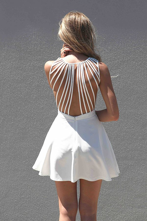 White Strapless Dress - White Sleeveless Dress with Lattice | UsTrendy