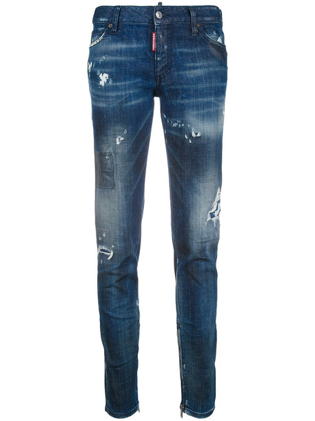 Dsquared2 jeans skinny jeans women spandex leather cotton blue