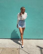 skirt,mini skirt,denim skirt,blue skirt,blouse,white blouse,shoes,white shoes,ruffle