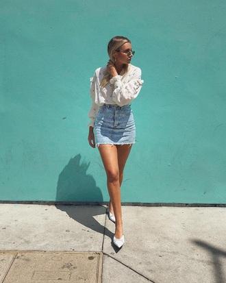 skirt mini skirt denim skirt blue skirt blouse white blouse shoes white shoes ruffle