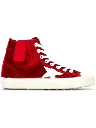 sneakers velvet red shoes