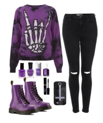 sweater goth purple skeleton hand goth girl goth style goth sweater dark girl shoes boots drmartins phone cover black cross nail polish