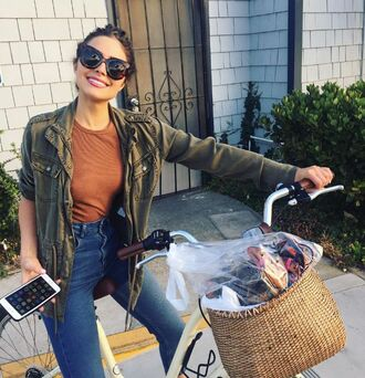 jacket jeans sunglasses top olivia culpo instagram army green jacket