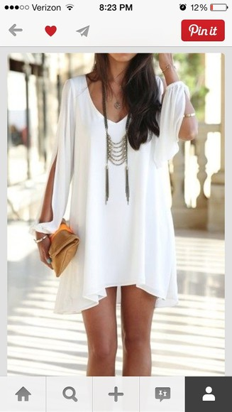 dress long sleeved dress white dress mini dress boho dress white short dress long sleeve dress jewels long sleeve