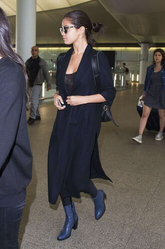 coat top leggings boots all black everything selena gomez sunglasses shoes duster coat