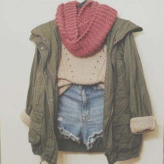 jacket army green jacket beige sweater high waisted shorts infinity scarf scarf shorts sweater