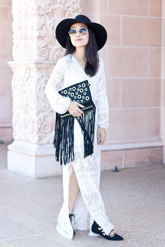 it's not her it's me blogger dress hat slit dress white dress fringed bag