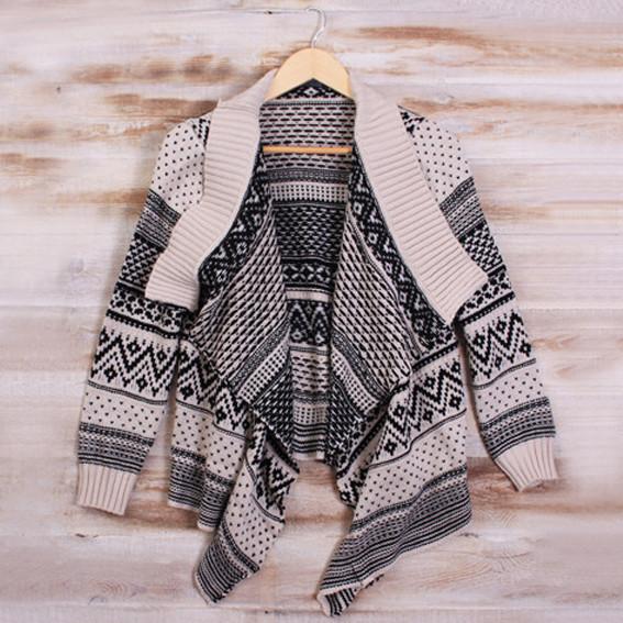 Monochrome patterned cardigan – sirenlondon