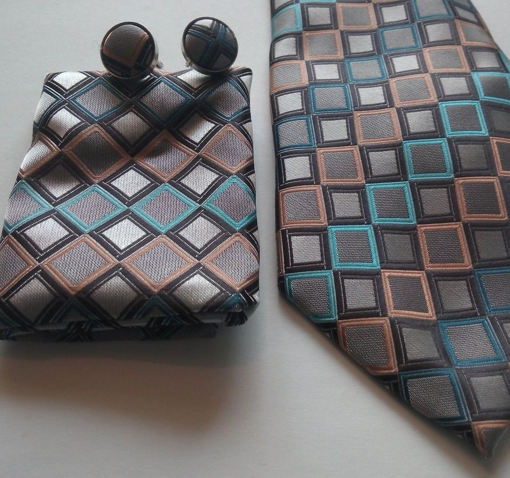 Tie Cuff Links Hanky Pure Silk Necktie Handkerchief Cufflinks Boxes