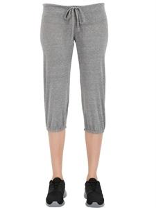 Cropped cotton blend jersey yoga pants