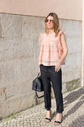 the working girl,t-shirt,pants,shoes,bag,sunglasses,jewels,straight pants,mid heel sandals