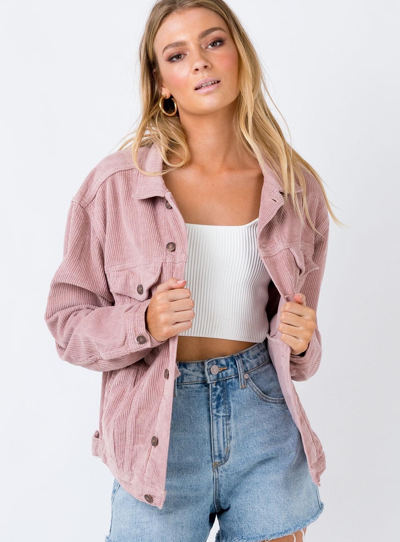 Western Cord Jacket Blush | Princess Polly