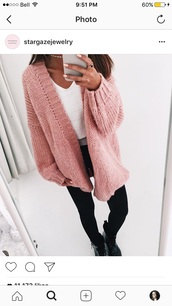 sweater,pink sweater,leggings,cardigan,pants