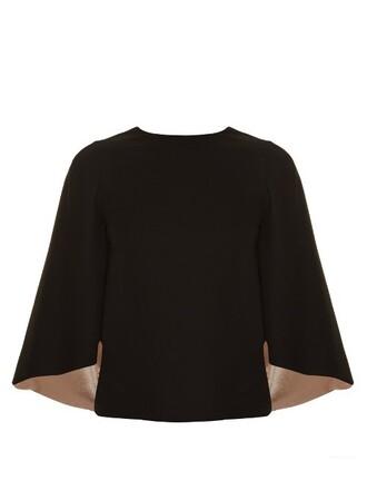 top cape back cut-out satin black