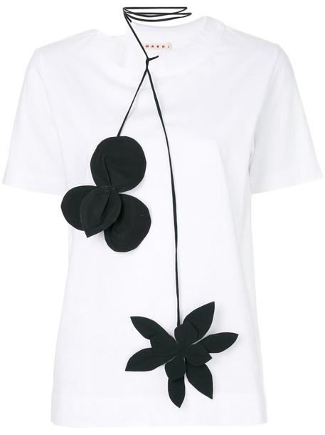 MARNI t-shirt shirt t-shirt women floral white cotton top