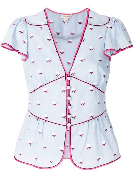 Marc Jacobs blouse women floral cotton blue silk top