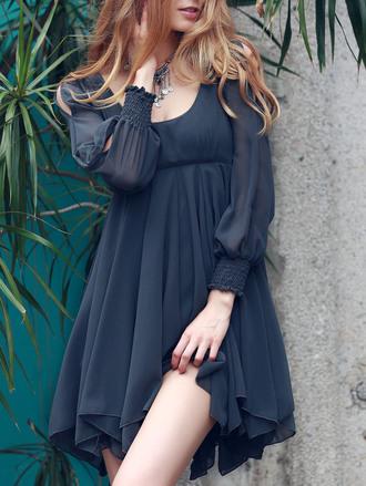 dress girly long sleeves fashion navy feminine cute hot summer spring dressfo