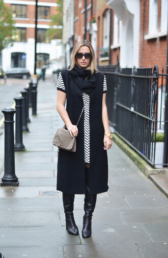camila carril blogger scarf bag sunglasses chevron striped dress long coat shift dress black boots chevron dresses