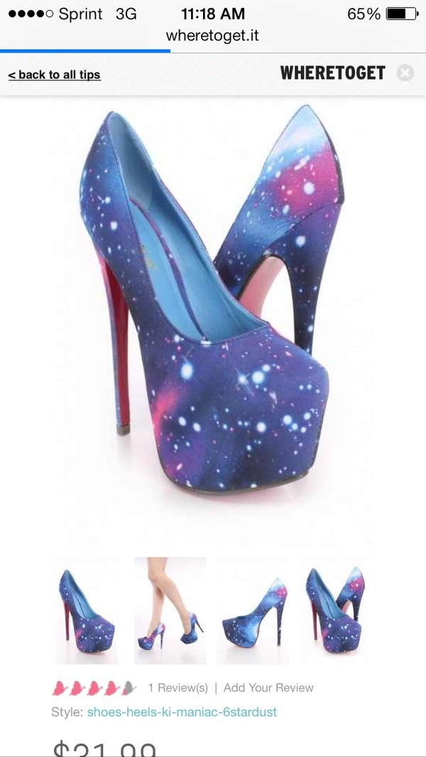 shoes galaxy printed heel