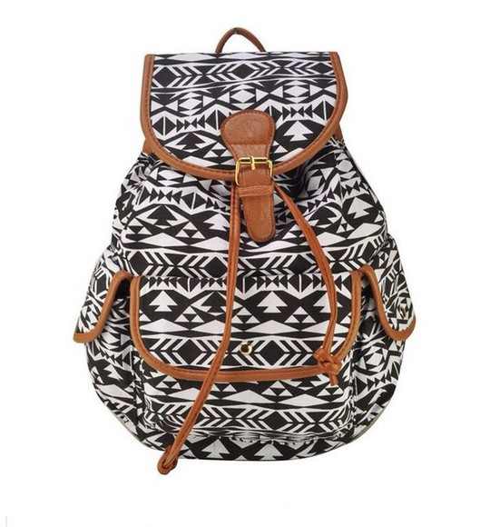 bag backpack black white aztec aztec backpack