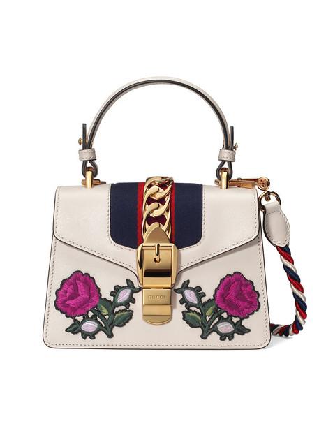 mini metal embroidered women bag mini bag leather white suede