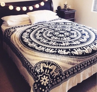 home accessory blue black white elephant cover blanket tapestry home decor indie boho cute accessoris