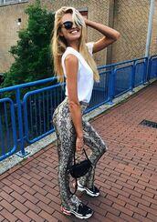 pants,top,sneakers,romee strijd,model off-duty,instagram,animal print,python