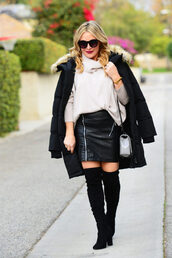 thehuntercollector,blogger,sweater,coat,skirt,shoes,bag,jewels,sunglasses,winter outfits,puffer jacket,shoulder bag,black leather skirt,bebe pencil zipper skirt,thigh high boots,boots