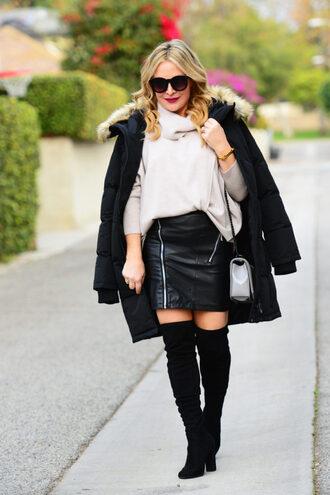 thehuntercollector blogger sweater coat skirt shoes bag jewels sunglasses winter outfits puffer jacket shoulder bag black leather skirt bebe pencil zipper skirt thigh high boots boots