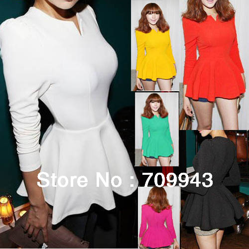 Fashion Charming korea V neck Puff Long sleeves Fitted Peplum Blouse T shirt Tops shirts-in T-Shirts from Apparel & Accessories on Aliexpress.com